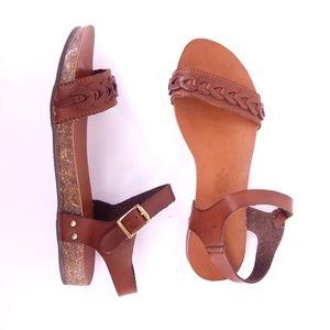 Nomadas | Aztec Brown Buckle Strap Sandals